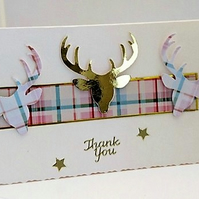 Scottish Tartan Stag Thank You Handmade Greeting Card
