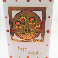 Happy Birthday Abstract Floral Handmade Greeting Card