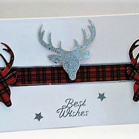Scottish Tartan Stag Best Wishes Handmade Greeting Card