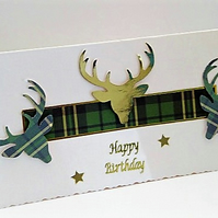 Scottish Tartan Stag Happy Birthday Handmade Greeting Card