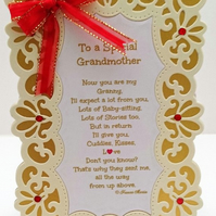 New Baby Card,To A Special Grandmother Keepsake Card with Verse,Baby Girl or Boy