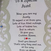 New Baby Card,To A Special Aunt Keepsake Card with Verse Baby Girl or Baby Boy