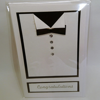 Tuxedo Congratulations Card, Groom, Best Man Any Occasion Male Handmade Card
