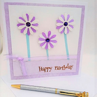 Happy Birthday Lilac Flowers Card,Handmade, Male,Female, FREE P&P to UK