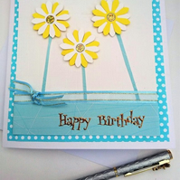 Happy Birthday Pale Green Flowers Card,Handmade, Male,Female, FREE P&P to UK