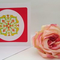 Medallion, Mandala All Occasions  or Meditation handmade greeting card.