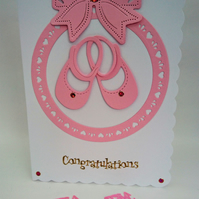 Newborn Baby Girl Card, Pink Shoes,Pink Bow, Circle Hearts Handmade in Scotland