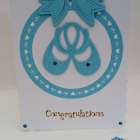 Newborn Baby Boy Card, Blue Shoes, Blue Bow,Circle Hearts Handmade in Scotland