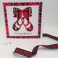 Newborn Baby Keepsake Card, Tartan Shoes, Tartan Bow, Handmade in Scotland