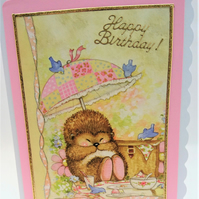 Hedgehog Happy Birthday Card Handmade in Scotland