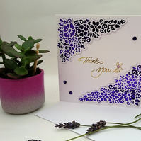 Special Thank You Card in Elegant Filigree Design, FREE POSTAGE TO U.K.