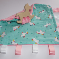 Teething baby blanket comforter - Unicorns - CE certified from birth