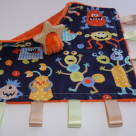 Teething baby blanket comforter - Monsters - CE certified from birth