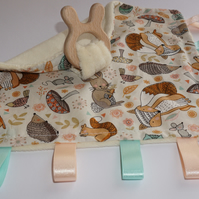Teething baby blanket comforter - Woodland Animals - CE certified from birth