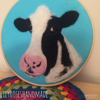 'Moo'  needled felted cow portrait in embroidery hoop