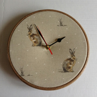 Fryetts Brown Hartley Hare Rabbit Fabric Covered Wall Clock 20 cms 8 ins