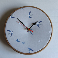 Sophie Allport Swallows in Flight Print Fabric Covered Wall Clock 20cm 8 inches