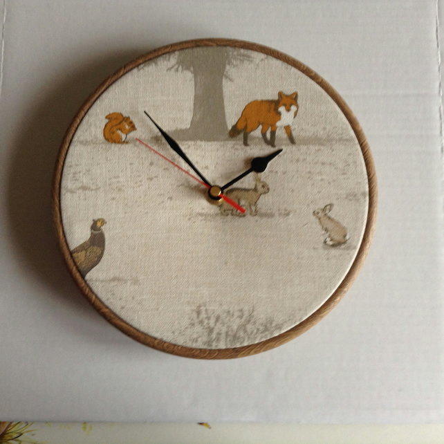 Fryetts Tatton Animal Fox Rabbits Pheasant Fabric Covered Wall Clock 20 cms