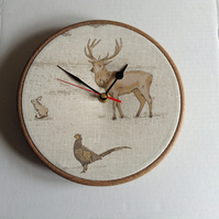 Fryetts Tatton  Animal Stag Rabbit Pheasant Fabric Covered Wall Clock 20 cms