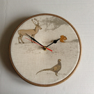 Fryetts Tatton Animal Stag Pheasant Squirrel Fabric Covered Wall Clock 20 cms