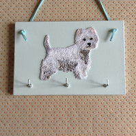 Key Holder Storage Rack  Westie West Higland Terrier Pale Mint Green Plaque