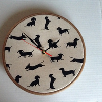 Dachshund Sausage Dog Print Fabric Covered Wall Clock 20 cms 8 ins