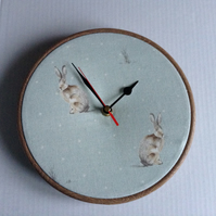 Fryetts Duck Egg Blue Hartley Hare Rabbit Fabric Covered Wall Clock 20 cms 8 ins