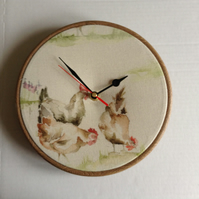 Voyage Henny Penny Chickens Hens Fabric Covered Wall Clock 20 cms 8 ins