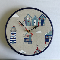 Beach Huts Lighthouse Clouds Seaside Cotton Fabric Covered Wall Clock 20cm 8 ins