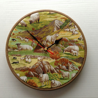 Sheep & Sheepdogs on the Hillside Cotton Fabric Covered Wall Clock 20 cms 8 ins
