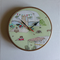 Caravan Camping Green Cotton Fabric Covered Wall Clock 20 cms 8 ins