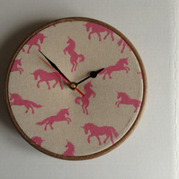 Pink Unicorn Cotton Fabric Covered Wall Clock 20cm 8 ins