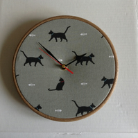 Sophie Allport  Black Cat Print Fabric Covered Wall Clock 20cm 8 inches