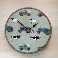 Sophie Allport On The Farm Cotton Fabric Covered Wall Clock 20 cms 8 ins