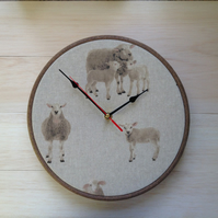 Sheep Ewes & Lambs Cotton Linen Print Fabric Covered Clock 25cm 10 inches