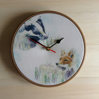 Badger Fox Wildlife Woodland Forest Scene Fabric Covered Wall Clock 20 cms 8 in