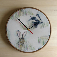 Badger Hare Woodland Forest Scene Fabric Covered Wall Clock 25 cms 10 in