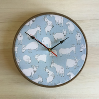 Goats on a Blue Background Print Cotton Fabric Covered Wall Clock 25 cms 10 in