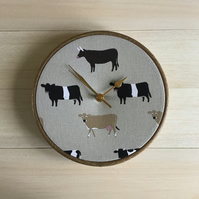 Sophie Allport Belted Galloway Jersey Cows Fabric Covered Wall Clock 20cm 8in