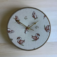 Red Squirrel Print Cotton Linen Fabric Covered Wall Clock 25 cms 10 in