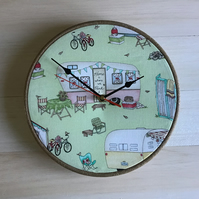 Caravan Camping Green Cotton Fabric Covered Wall Clock 25cms 10 ins