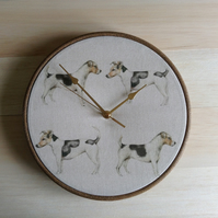 Voyage Eddie & Teddy Jack Russell Cotton Linen Fabric Covered Clock 25cm