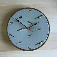 Sophie Allport Garden Birds on Duck Egg Blue Background Fabric Covered Clock