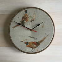 Fryetts Pheasant Cotton Linen Fabric Covered Wall Clock  25 cms 10 in