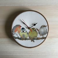 Laura Ashley Garden Birds on Branch Fabric Covered Wall Clock 20 cms 8 ins