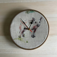 Pigs Farmyard  Animal  Print Linen Blend Fabric Covered Wall Clock 20cm 8 inches