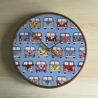 VW Camper Vans on Blue Background Cotton Fabric Covered Wall Clock 25cms 10 ins
