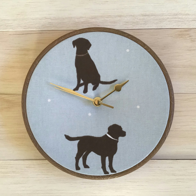 Chocolate Labrador on Duck Egg Background Linen Fabric Clock 20cm 8in