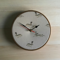 Sophie Allport Hare  Print Fabric Covered Wall Clock 20cm 8 inches