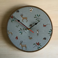 Sophie Allport Woodand Deer Rabbit Hedgehog Owl Squirrel Fabric 25cm 10in Clock